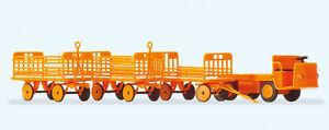 Preiser-17120-Carretto-Elettrico-con-3-Rimorchi-Kit-di-Costruzione-H0