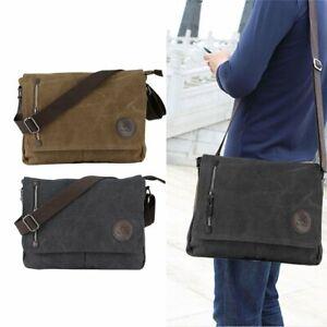 Men-039-s-Vintage-Canvas-Schoolbag-Satchel-Shoulder-Messenger-Bag-Laptop-Bags-New-MY
