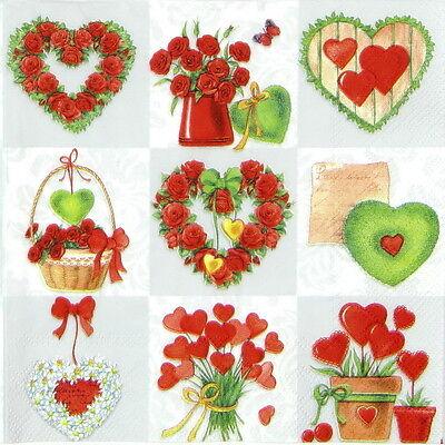 4x Paper Napkins for Decoupage Decopatch Craft Heart Birch