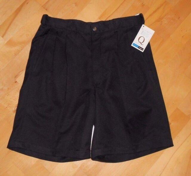 Men's Haggar Cool 18 Pleated Stretch Waist Black Shorts Tag 34 (Measure 32) NWT