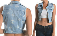 SKULL Print PUNK Rock Denim Jean Button waistcoat Cropped Sleeveless VEST Jacket