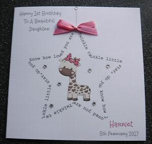 Image Is Loading HANDMADE PERSONALISED 1ST BIRTHDAY CARD BOY GIRL TWINKLE