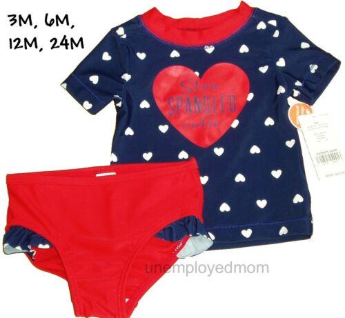 Carters Rash Guard Swimsuit Rashguard Girls Swim Bathing Suit 2 Pc Shirt Bottoms