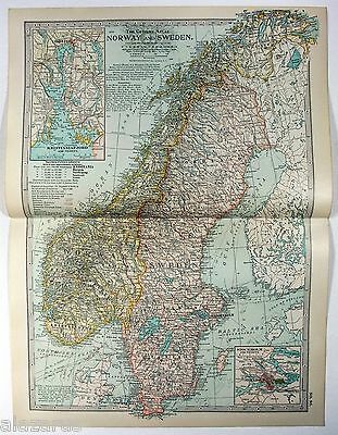 Original 1902 Map of Norway & Sweden by The Century Company