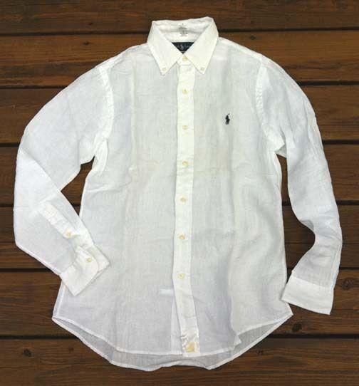 59c2dd4d1f25ba Polo Ralph Lauren White Long Sleeve 100 Linen Shirt Sz L for sale online