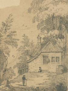 Pair of Early 20th Century Graphite Drawings - Cottage Studies