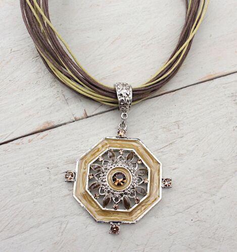 Modekette Kette Halskette eckiger Anhänger,Blüten Ornament braun Töne NEU