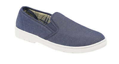 Hombres Textil Denim Azul Marino Lona Confort Acolchado Superior Doble Escudete Talla 6-12