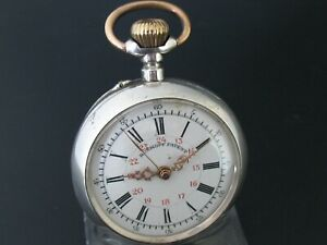 Roskopf-Patent-Lepine-Men-039-s-Pocket-Watch-800-Silver-With-Second-Hand