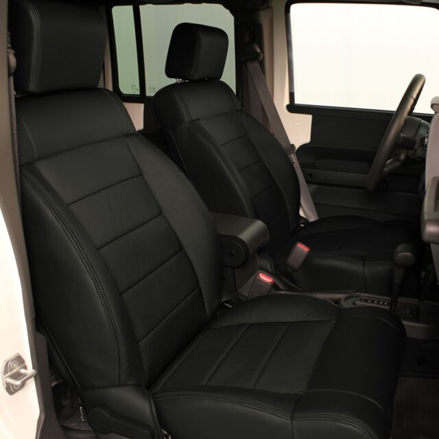 KATZKIN EBONY BLACK LEATHER SEAT COVERS 2011 2012 JEEP WRANGLER 4 DOOR NEW