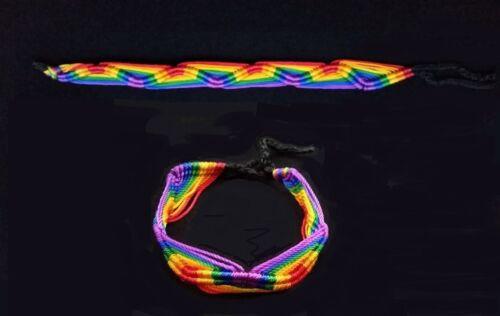 LGBT GAY PRIDE LESBIAN RAINBOW FRIENDSHIP BRACELET WITH AN ANKH CHARM