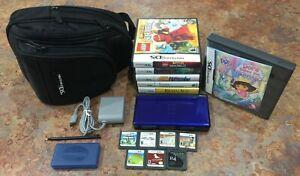 Nintendo-DS-Lite-Handheld-Console-Cobalt-Blue-amp-Black-Bundle-with-12-Games