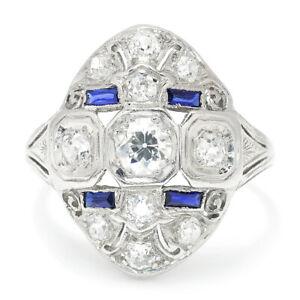 Vintage-Art-Deco-Old-European-Diamond-Dinner-Ring-Platinum-1-10ctw