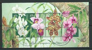 AUSTRALIA-1998-australia-singapore-ORCHIDEE-miniatura-foglio-PREGIATO-USATO