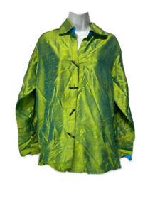 Yak Magik Womens Size S Button Up Shirt Green Long Sleeve Collared Silk Blouse