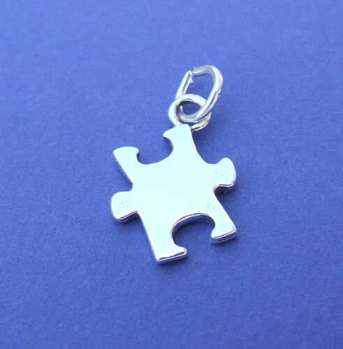 JIGSAW PUZZLE PIECE AUTISM 3D CHARM 925 STERLING SILVER