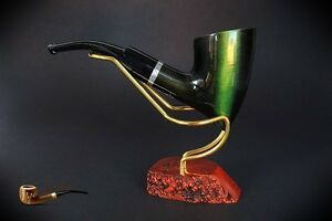 HAND-MADE-WOODEN-TOBACCO-SMOKING-PIPE-no-68-Tomahawk-Green-Pear-Filter