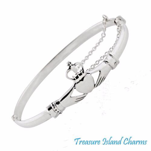 Irish Claddagh cœur .925 Solid Sterling Silver Bangle Bracelet avec chaîne de sécurité