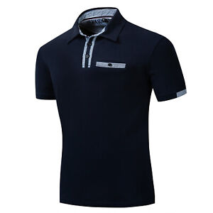 Men-Short-Sleeve-Solid-Polo-Shirt-Classic-Casual-Striped-Collar-Cotton-T-Shirt