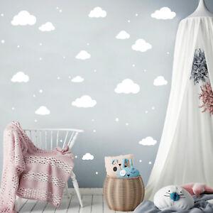 Details zu Wandtattoo Wolken Set mit Sternen 45teilig 12355 Clouds Sky  Kinderzimmer Deko