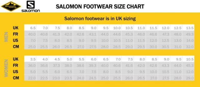 salomon speedcross 4 gtx size guide uk
