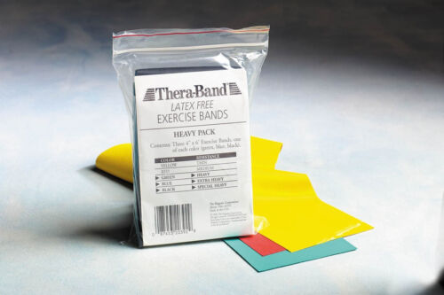 TheraBand Light LATEX FREE Resistance Band KIT HVY Exercise Pilates Rehab HYG193
