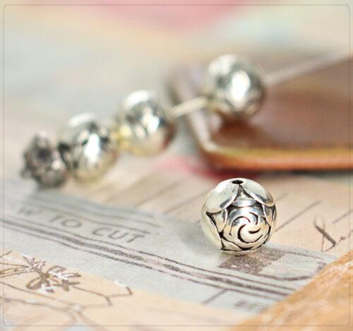 6 Metall Perlen Spacer Beads Zwischenteil Schmuck DIY Blume Rosen silbern 8,5mm
