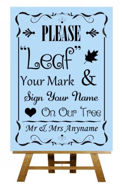 2019 Moda Blue Fingerprint Tree Istruzioni Personalizzato Wedding Segno / Poster Dolorante