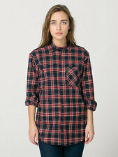 American Apparel XXS Unisex Plaid Flannel Long Sleeve Button-Up Shirt