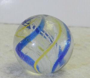 #12655m Vintage German Handmade Latticino Swirl Marble .75 Inches