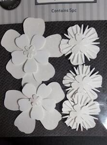 image is loading 5 glitter adhesive white paper flowers great for