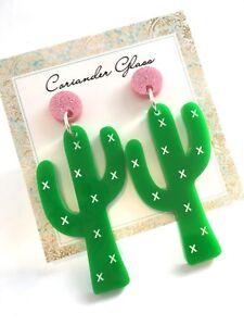 Cactus-Earrings-Surgical-Steel-Studs-Acrylic-Earrings-Statement-Earrings