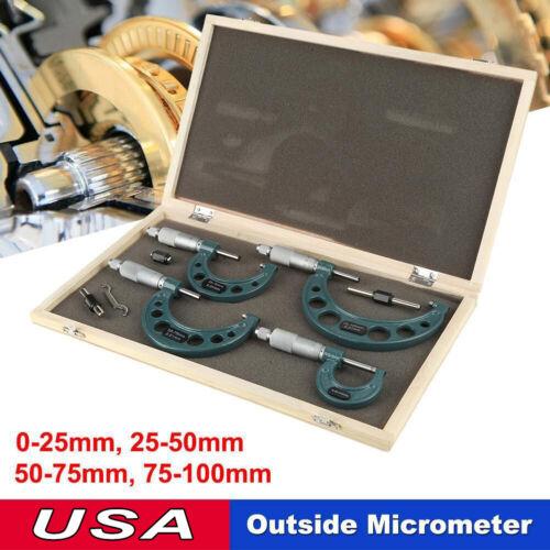 "Box 4Pcs 0-100mm//0-4/"" OUTSIDE MICROMETER SET MACHINIST TOOL CARBIDE"