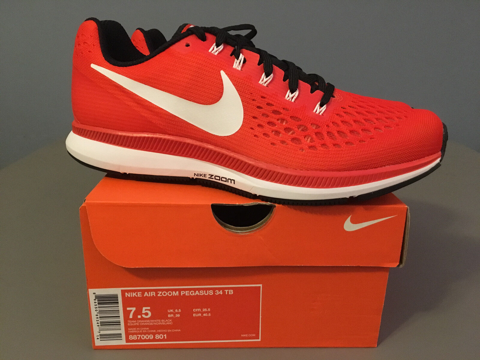 site réputé ae30a dae72 Mens Nike Air Zoom Pegasus 34 TB Running (887009) 801 Orange/white Size 7.5