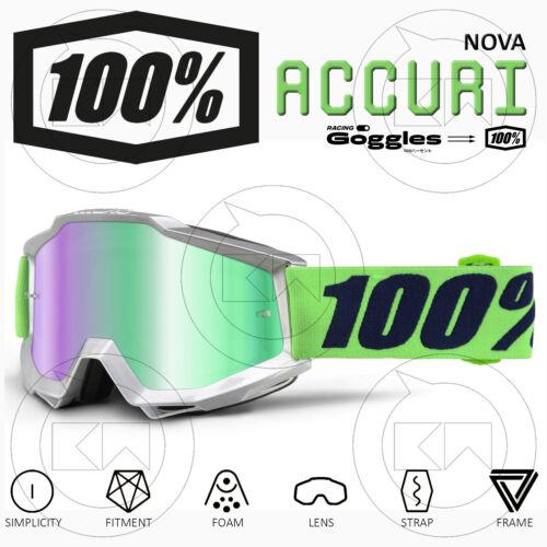 MASCHERA 100/% ACCURI OCCHIALI MOTOCROSS MX NOVA LENTE A SPECCHIO VERDE ANTI-FOG