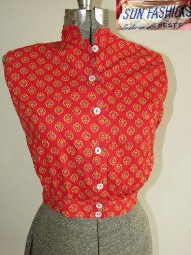 Vtg 50s Sun Fashions Cropped Patterned Shirt Blous