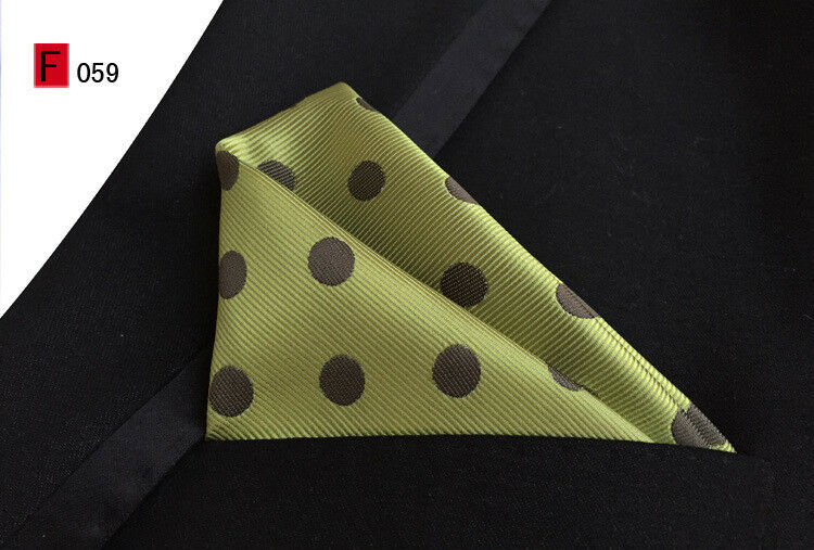 Pocket Square Silk Handkerchief Green Red Black Blue Silver Pink Multi Polka
