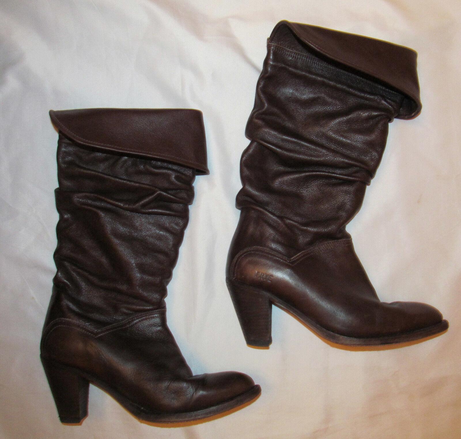 vintage FRYE DORADO slouch foldover cuffed pull on Braun heeled boots 7.5 M