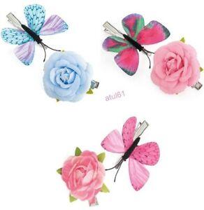 New Pack of 6 Pink or Purple Rose Flower Beak Hair Clip/'s