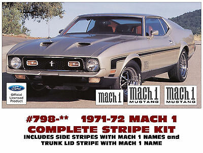 3 COLORS GE-798 1971-72 FORD MUSTANG MACH 1 COMPLETE STRIPE KIT and NAMES