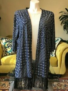 CATHERINES-BLUE-BLACK-WHITE-FRINGED-COVER-UP-WRAP-TUNIC-JACKET-1X-18W-20W