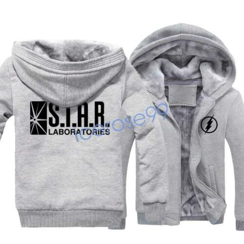 The Flash Star Laboratories Hoodie Winter Fleece Coat Unisex Sweatshirts Jacket