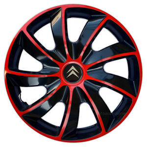 4x14 39 39 wheel trims for citroen c2 c3 c1 saxo 14 39 39 black red ebay. Black Bedroom Furniture Sets. Home Design Ideas