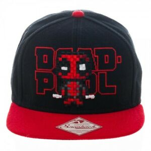 Marvel-DEADPOOL-PIXEL-TEXT-Snapback-Hat-Cap-NEW-TAGS-402371