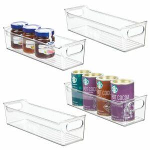 Smoke Gray 2 Pack mDesign Slim Plastic Kitchen Pantry Cabinet Food Storage Bin