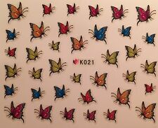 Nail Art 3D Decal Stickers Colorful Butterfly Butterflies K021