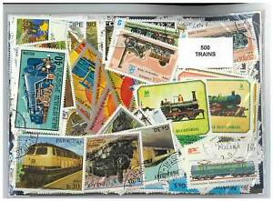 Trains - 500 Different Stamps Mixed in Bag Used