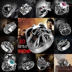 Men-Stainless-Steel-Steam-Punk-Ring-Gothic-Rings-Skull-Men-039-s-Jewelry-Band