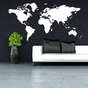 World map vinyl wall art room sticker decal contemporary ebay image is loading world map vinyl wall art room sticker decal gumiabroncs Images