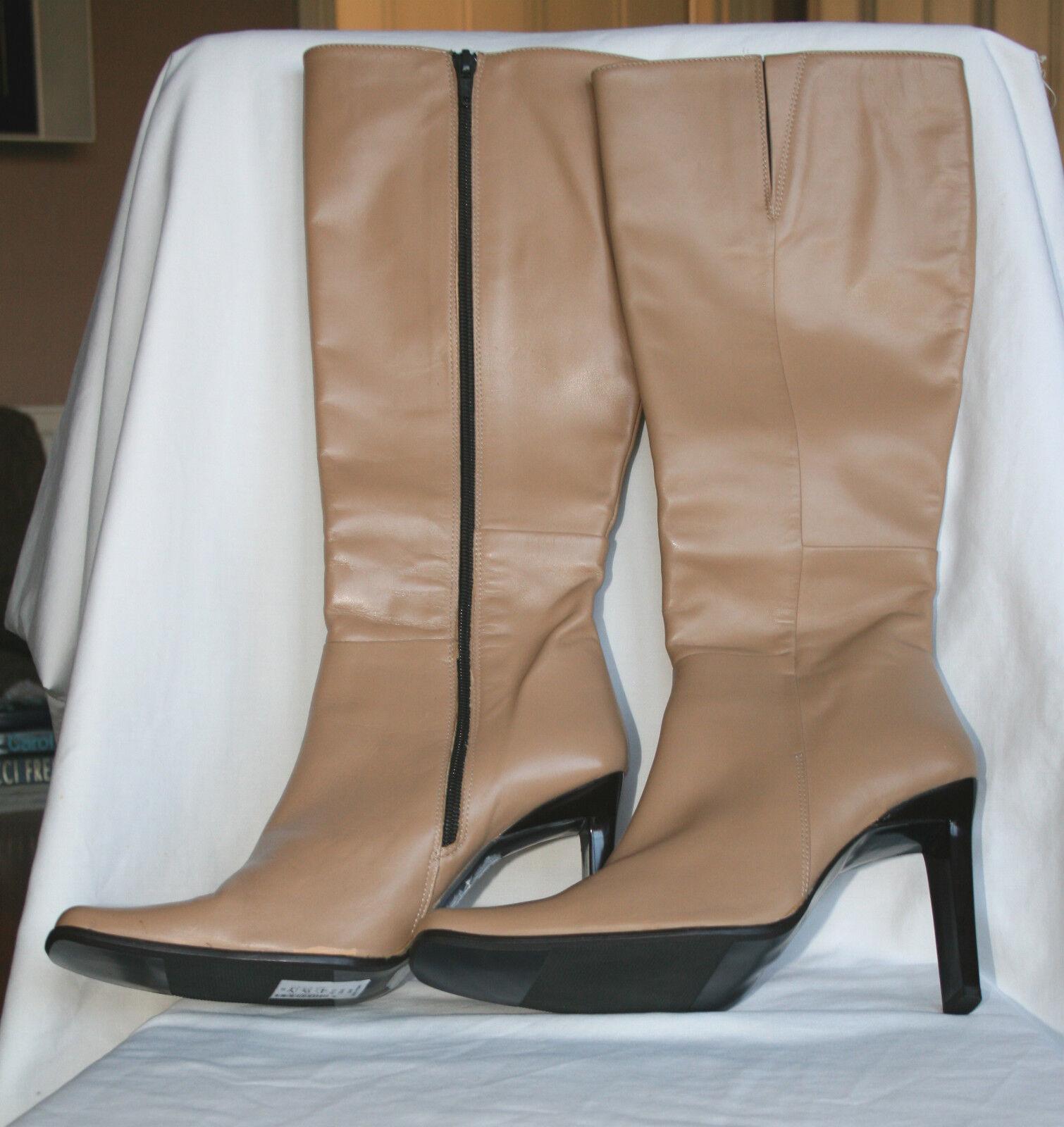 NEXT (UK6.5 / EU40) TAN LEATHER HIGH-HEELED ZIP FASTENING BOOTS - NEU